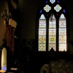 Stained glass, reminscent of the bed and breakfast's former home as a church.
