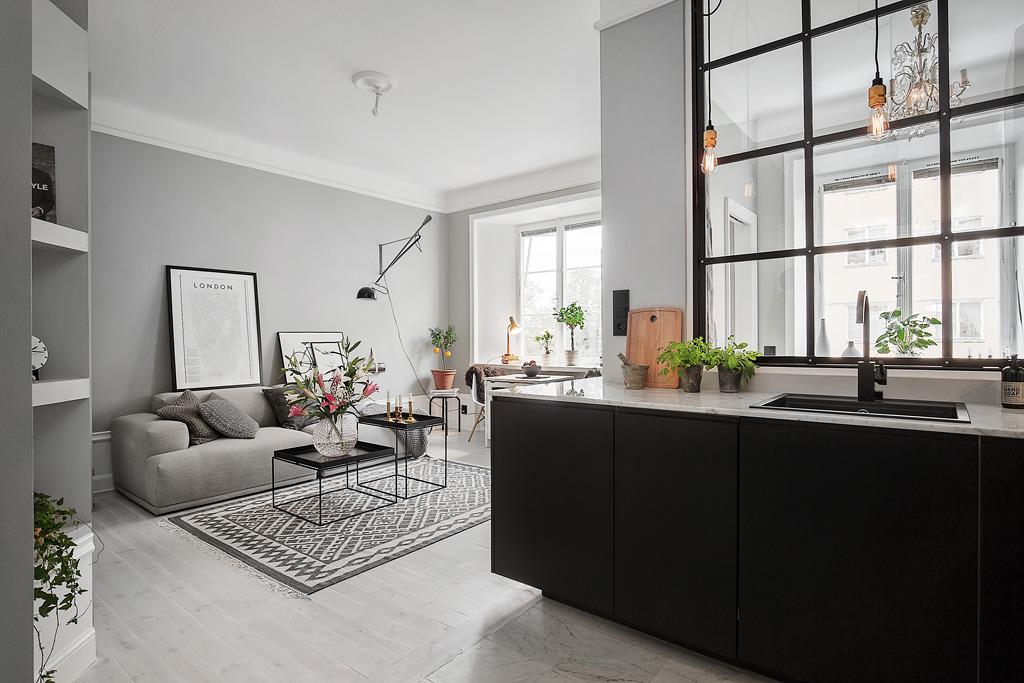 Piso peque o con paredes grises blog tienda decoraci n for Salones para pisos