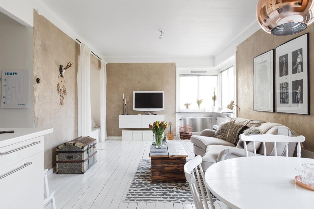 Mini piso de 40 m con amplio sal n blog tienda - Piso estilo nordico ...