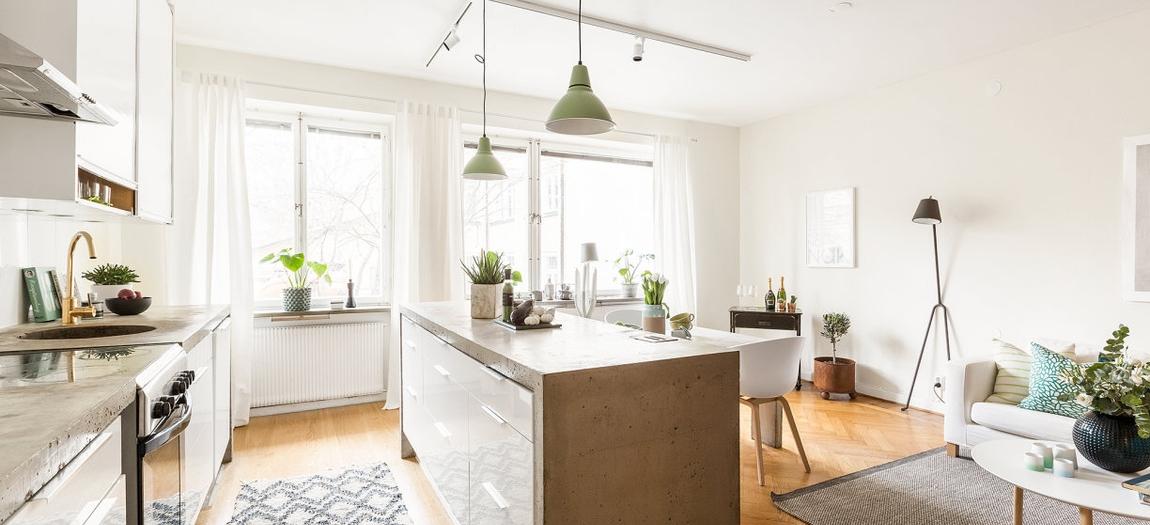 de interior interiores pisos pequeos estilo nrdico encimera de hormign distribucin difana cemento pulido suelos