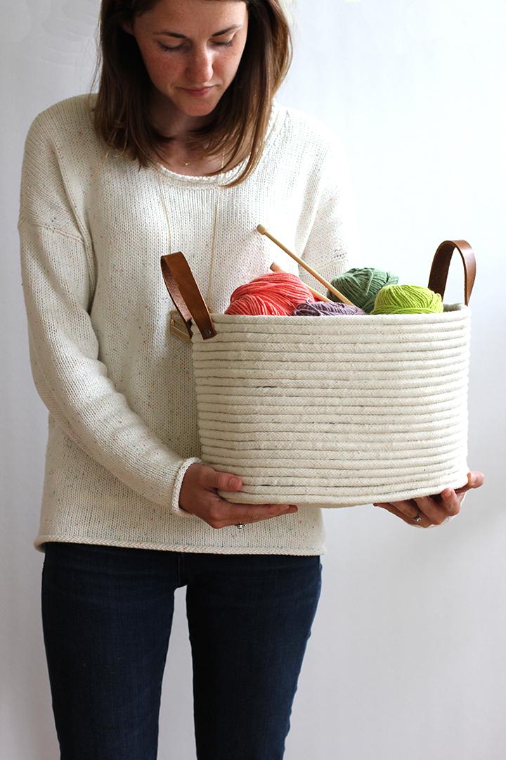 manualidades bricolaje DIY Cesta de cuerda diy decoración nórdica cestas hechas a mano blog diy
