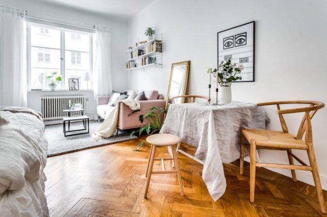 textiles femenino deco pisos de estudiantes piso sueco chicas Estudio de 25 m² fresco y femenino decoración mini pisos decoración femenina decoración estudios blog decoración nórdica
