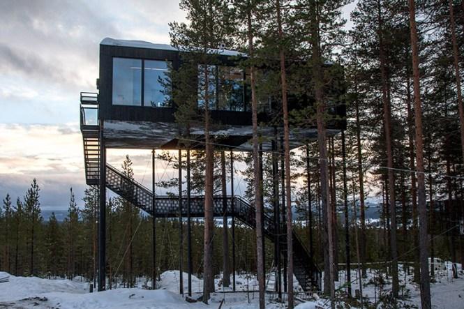 Diseño nórdico, naturaleza y auroras boreales en el Treehotel