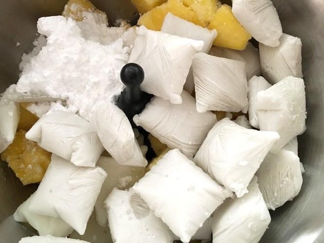 recetas delikatissen piña colada helado fruta picada helado de piña colada helado de piña helado de fruta helado de coco helado casero fruta congelada