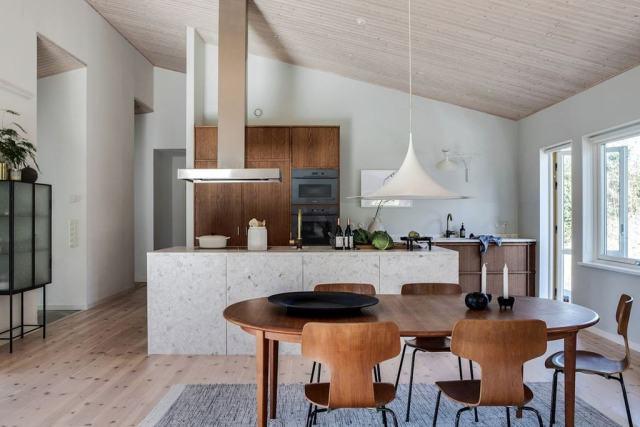 Encimera e isla de cocina de terrazo