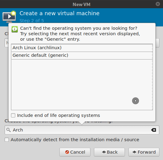 Virt-manager, select OS type