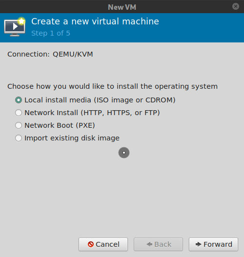 Virt-manager, select local install media