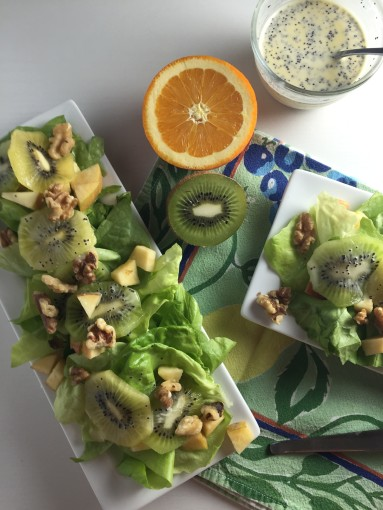 Green and Gold Kiwi highlight this Mouthwatering Salad!