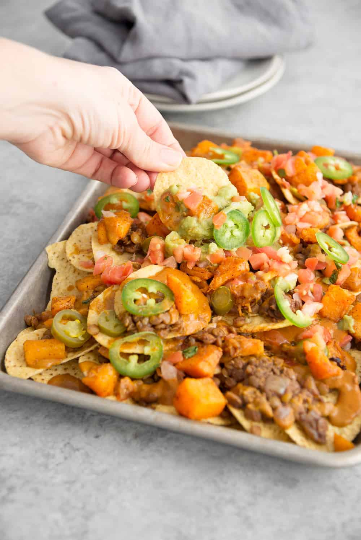 vegan lentil nachos with quick cheese sauce