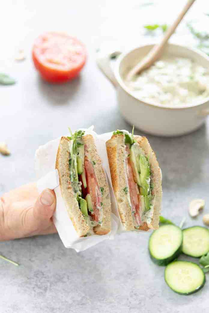 open vegan sandwich with cashew cheese