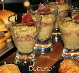 Verrine au poireau et jambon croustillant