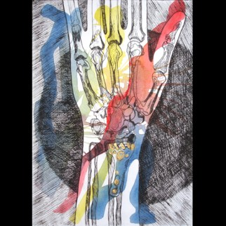 Wrist IV, 2014 Hand coloured Drypoint Etching with Gold leaf