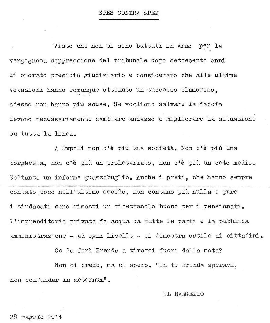 Bargello 28 Maggio