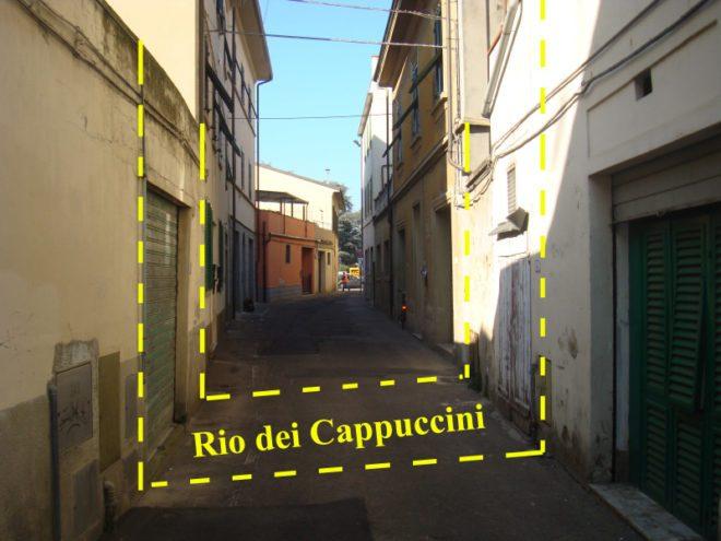 Tracciato del vecchio percorso del Rio in via dell'ospizio