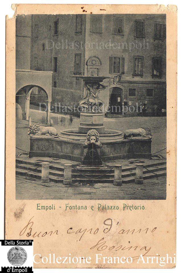 Empoli – Piazza dei Leoni fine 800 cartolina viaggiata da Franco Arrighi 1