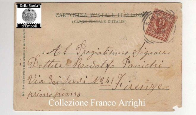 Empoli - Piazza dei Leoni fine 800 cartolina viaggiata da Franco Arrighi 2
