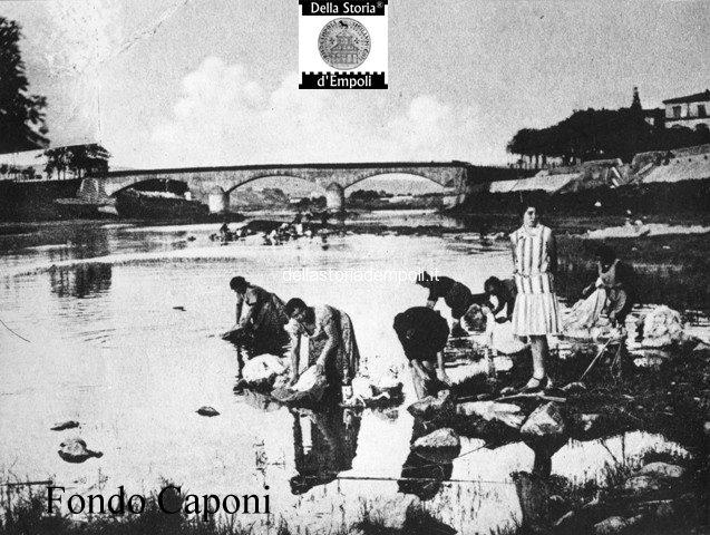 Ponte e Arno con lavandaie sul greto