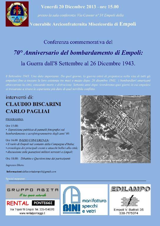 Evento:Ven 20 Dic Conferenza Commemorativa 70° Anniversario Bombardamento Di Empoli