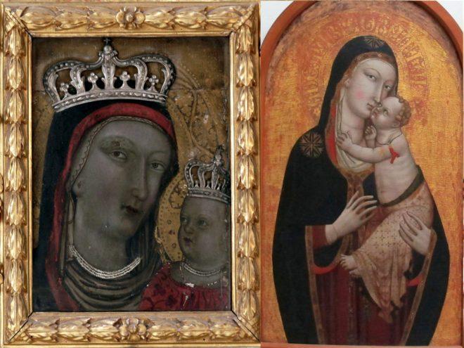 confronto tra Madonna-col Bambino Conservatorio SS. Annunziata a sinistra e Madonna col Bambino conservata nel Museo della Collegiata.