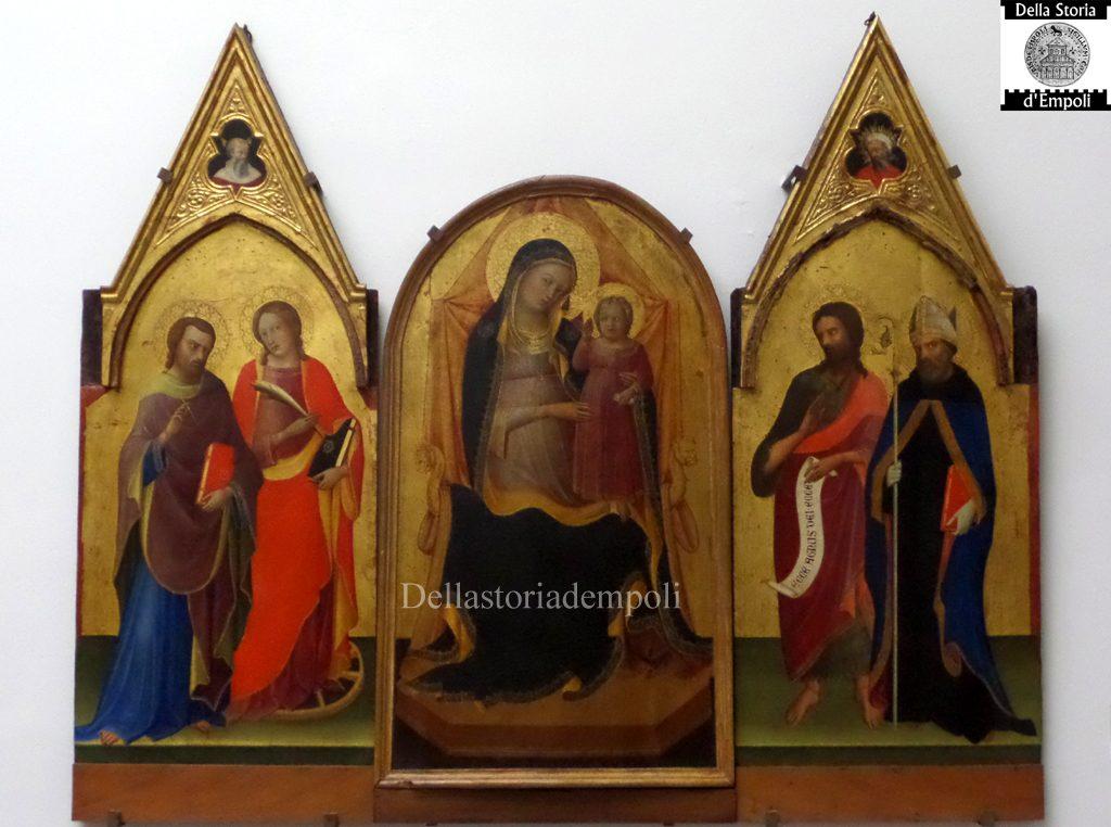 Lorenzo Monaco, Trittico Madonna Col Bambino Tra I Santi Giovanni Evangelista E Caterina, Giovanni Battista E Agostino