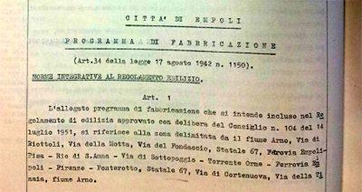 Il Programma Di Fabbricazione Di Empoli, 1952