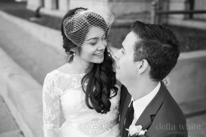 vintage chic bride with birdcage veil