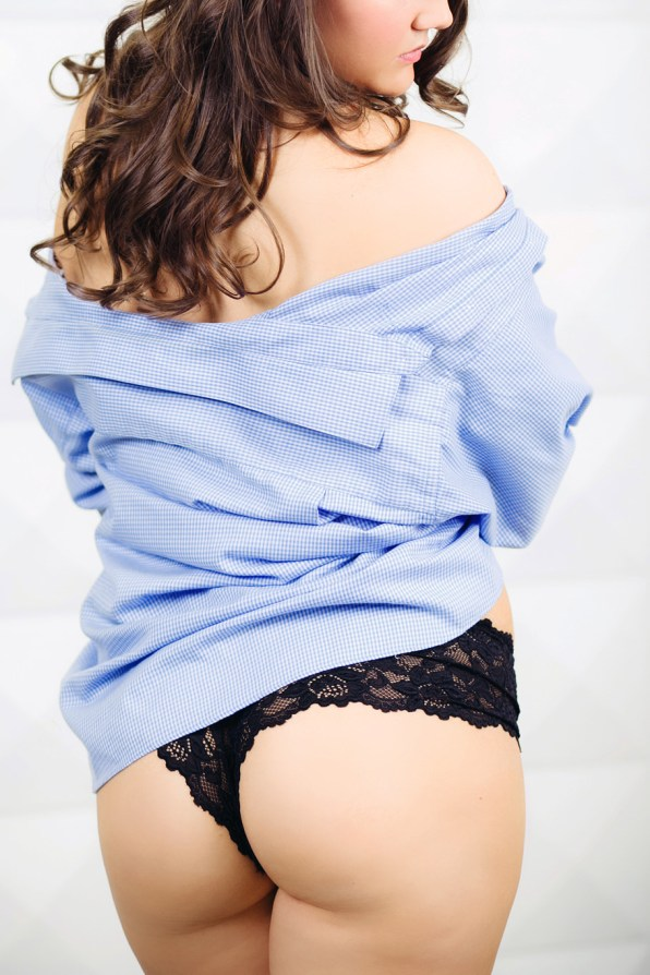 boudoir photo in husbands business shirt