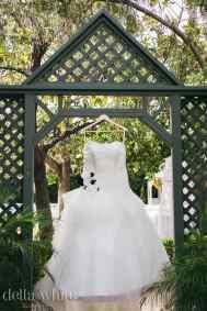 wedding dress hanging at christmas house inn