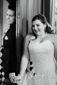 bride and grooms special moment and laughs during first touch