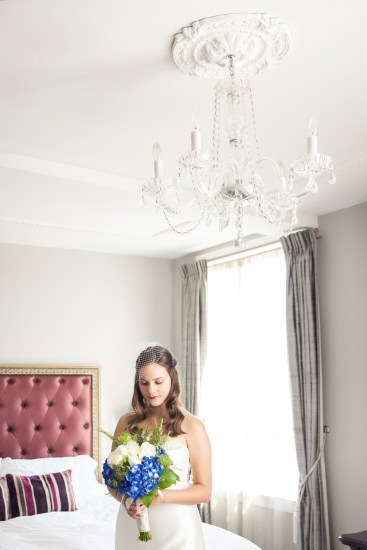 bride in culver hotel room before wedding