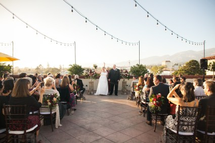 wedding ceremony on canary hotel rooftop