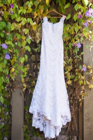 wedding dress hanging in ivy