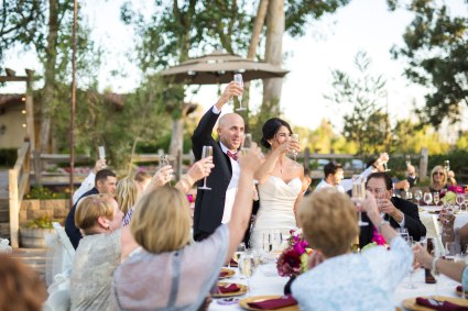 toasting to the bride and groom