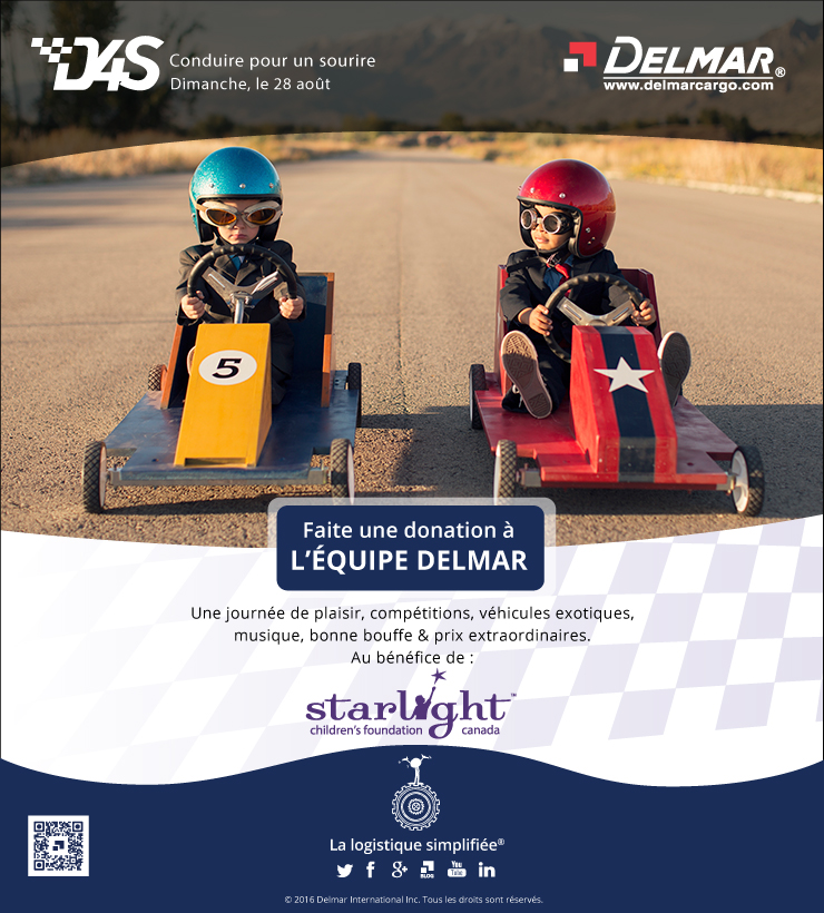 conduire pour un sourire - 2016 - le 28 Août, Sponsor Team Delmar -http://d4scanada.com/participant/172397