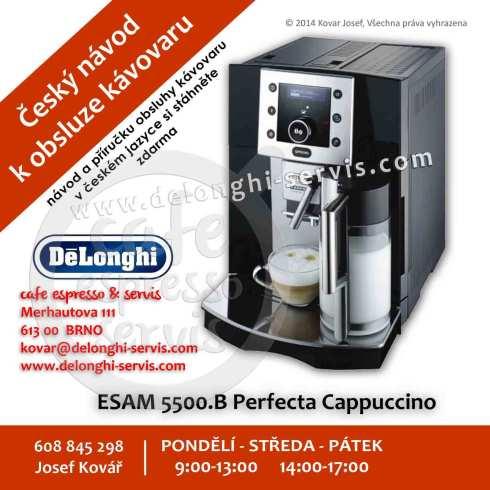Manuál, návod a příručka obsluhy CZ v českém jazyce pro automatický espresso kávovar DeLonghi ESAM 5500 Perfecta