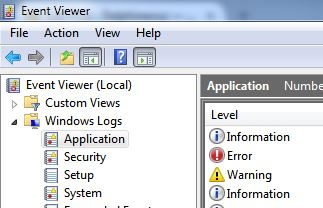 Capture of Windows 7 Event Viewer