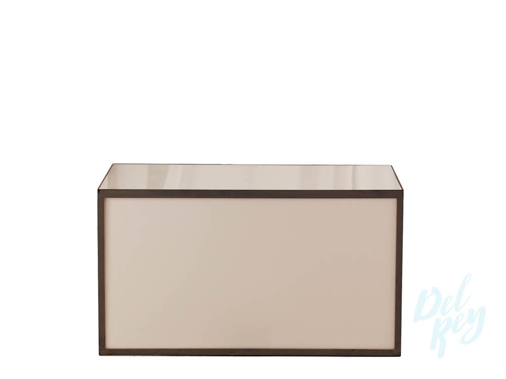 white acrylic square table 36 x 22 x 20 high