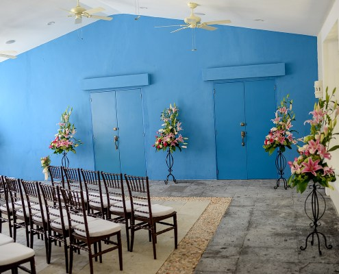 Dreams Tulum Wedding Chapel Annex guest seating ceremony setup. Photo courtesy of AMResorts.