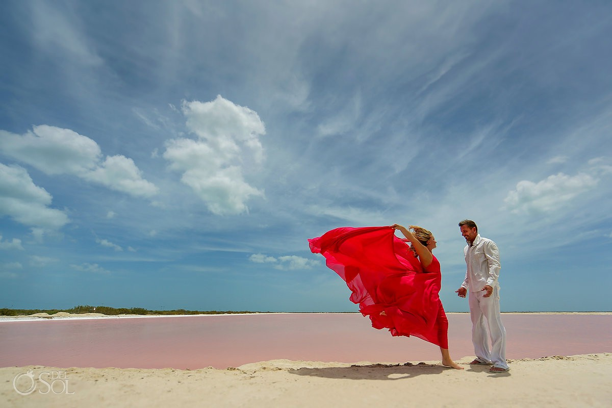 Pink water Las coloradas Mexico Elopement adventure ideas