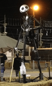 PIECED TOGETHER: The donated Jack Skellington from Smog Check Unlimited, made from car parts. PHOTO BY VALERIE SMITH