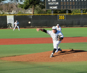 ON THE MOUND: Mustangs pitcher Matt Valencia on Jan. 31.