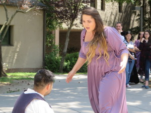 "Ariel Armanino and Artemio Angel share a playfull scene as Phoebe and Silvius from the comedy ""As You Like It."""