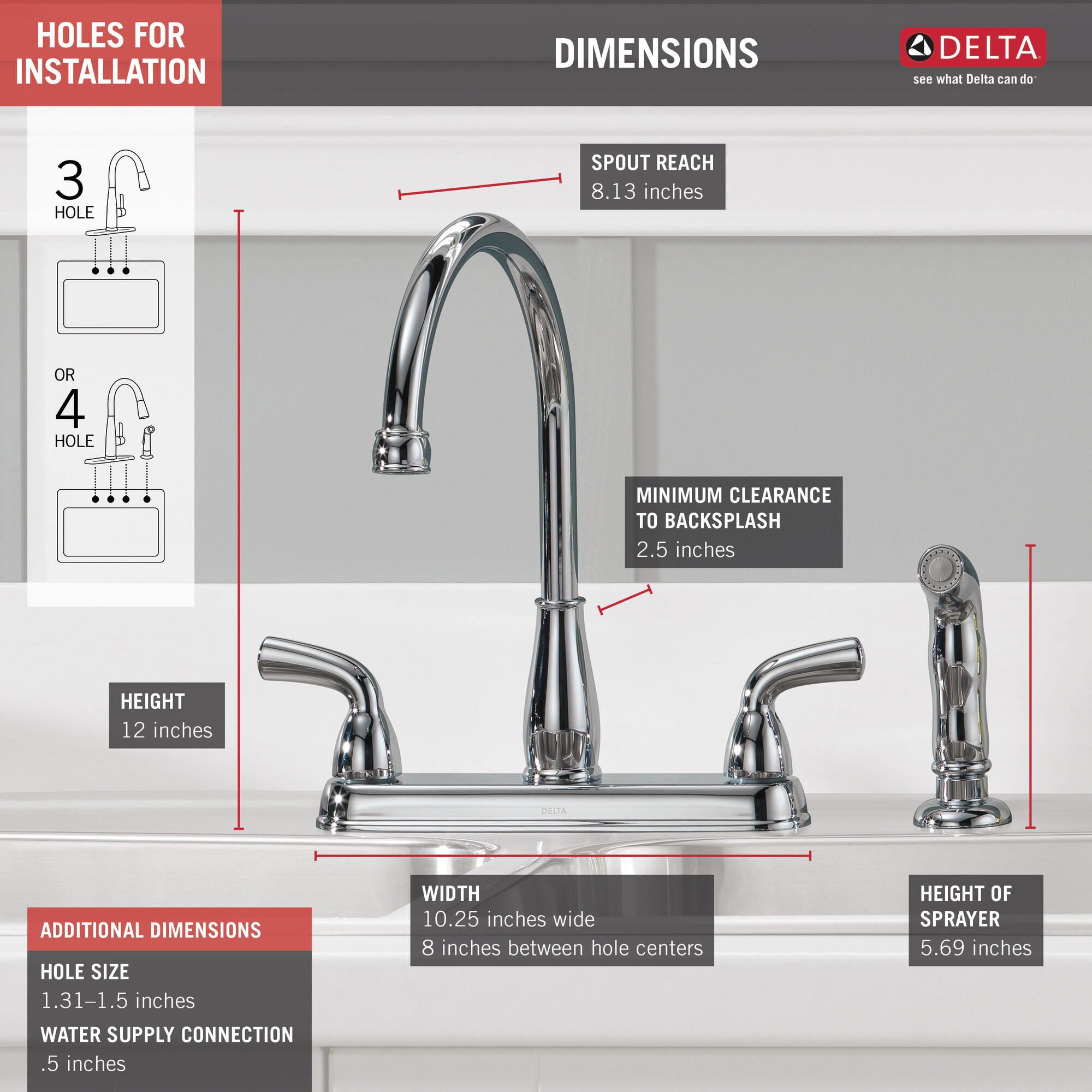 two handle kitchen faucet with spray