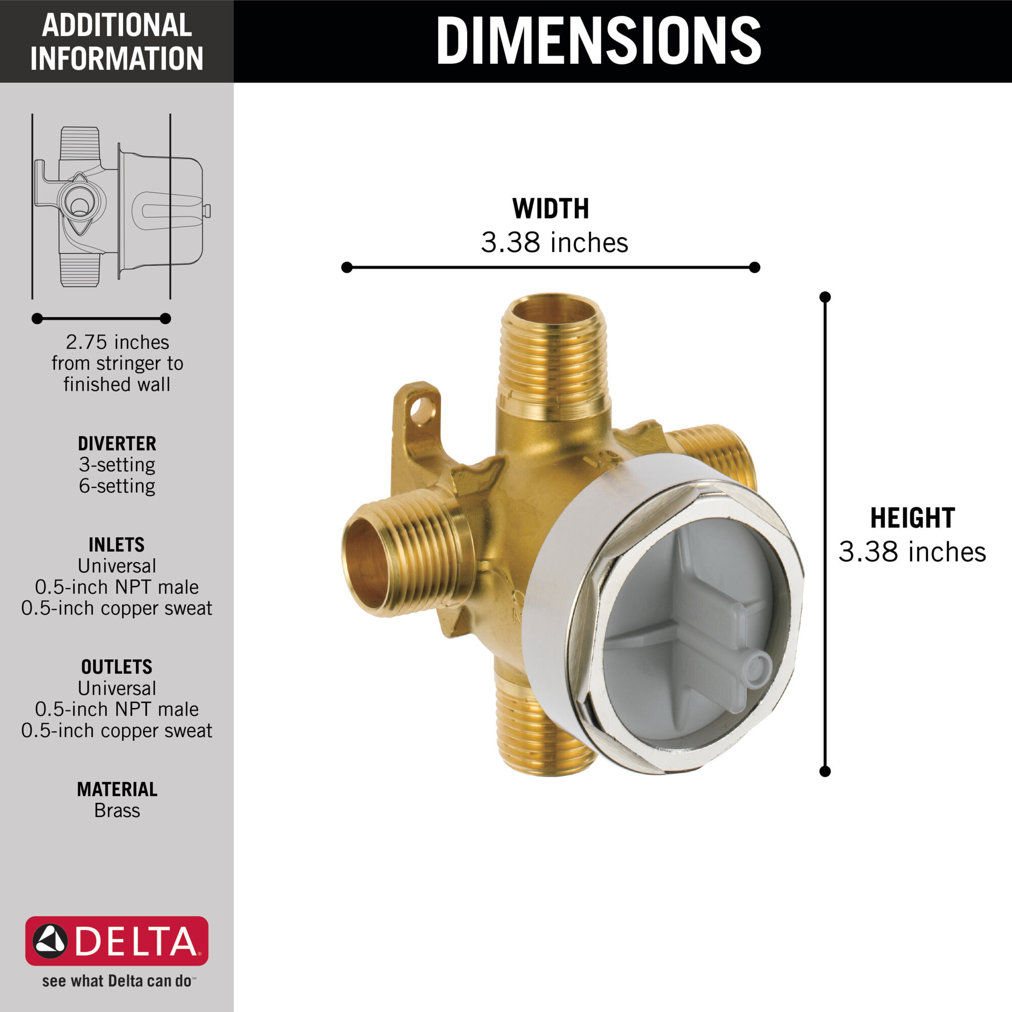 3 and 6 setting diverter rough