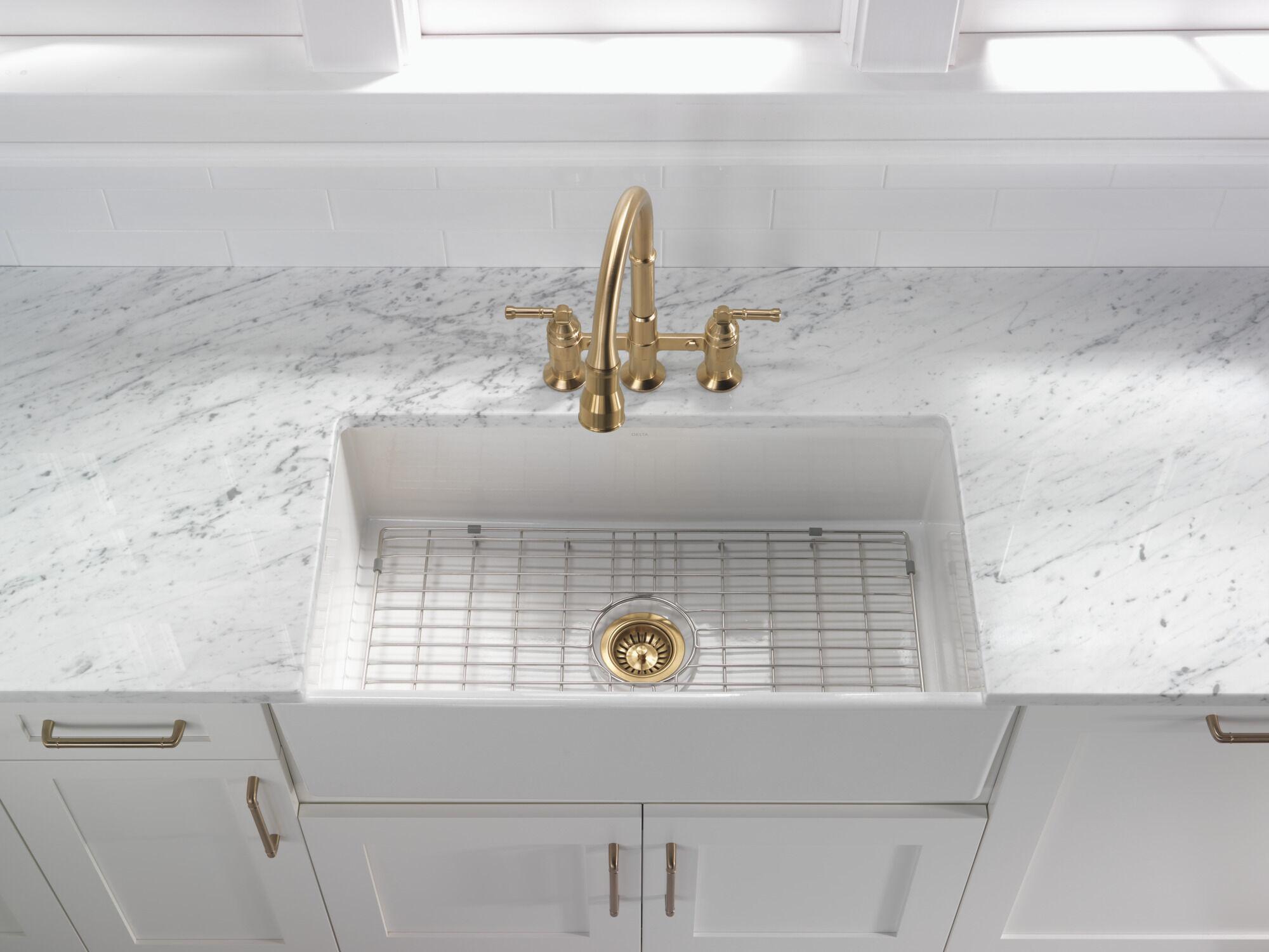 two handle pull down bridge kitchen faucet