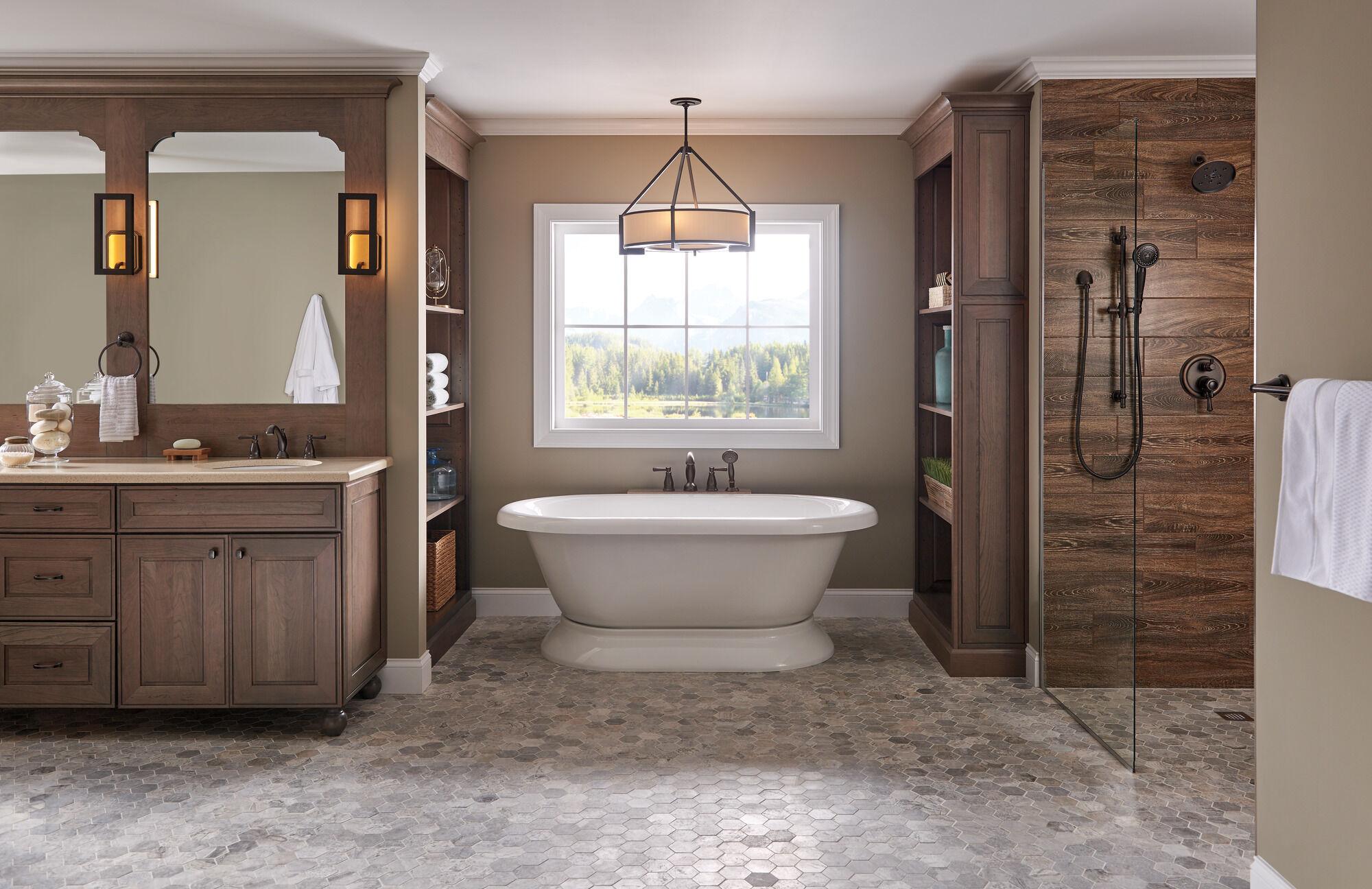 traditional two handle widespread bathroom faucet