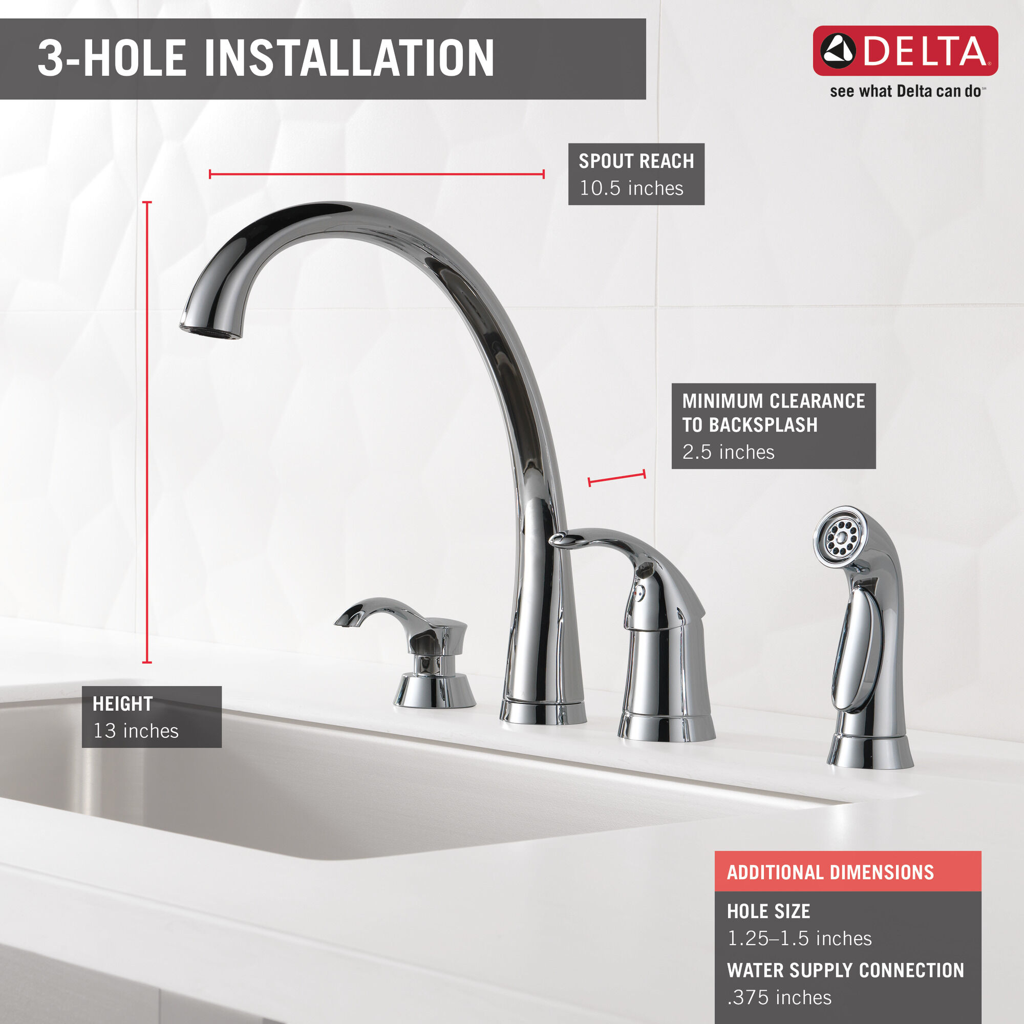 single handle kitchen faucet with spray and soap dispenser