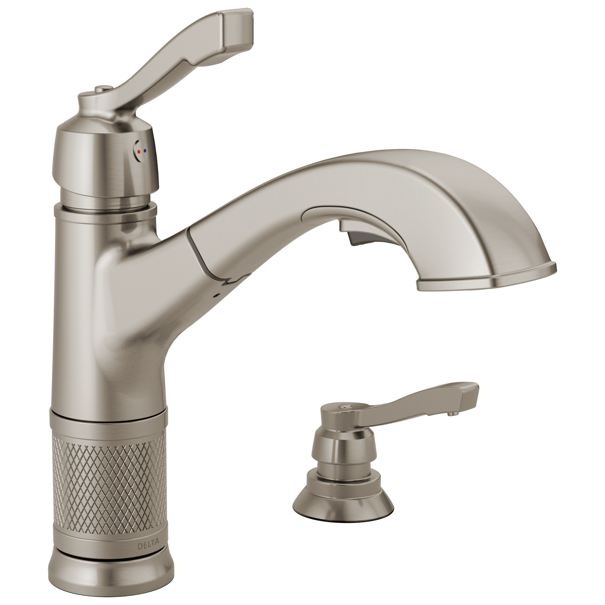 single handle pull out kitchen faucet with soap dispenser