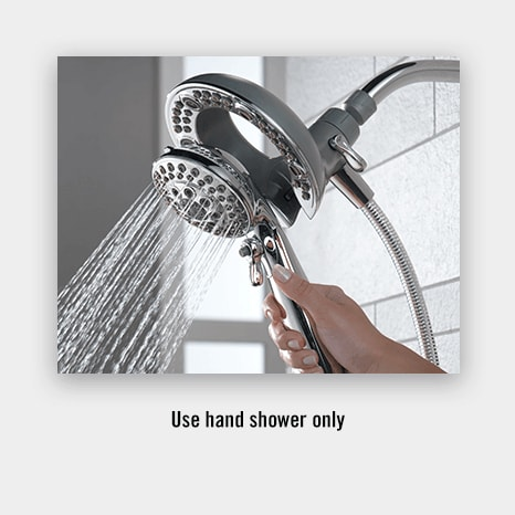 combination shower head and hand shower