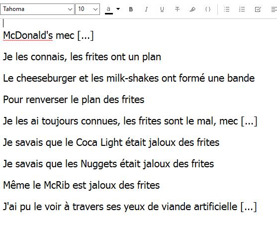 poème kanye West Frites